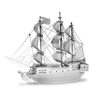 Metal Earth Pirate Ship Black Pearl Silver Edition