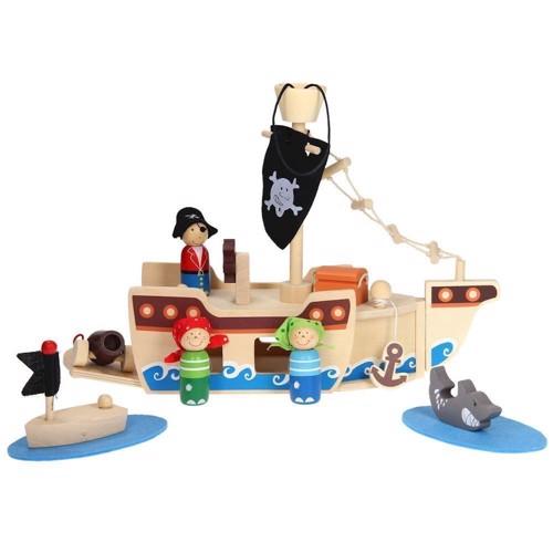 Transportabelt piratskepp i trä, 10 delar