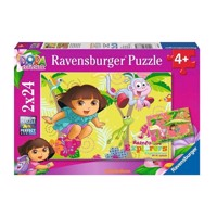 Ravensburger puslespil Dora in the Jungle, 2 x 24st.