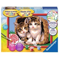 Ravensburger Painting by numbers-Kittens in a basket