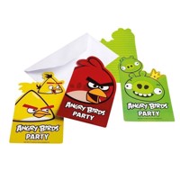 Angry Birds invitationer, 6 stk