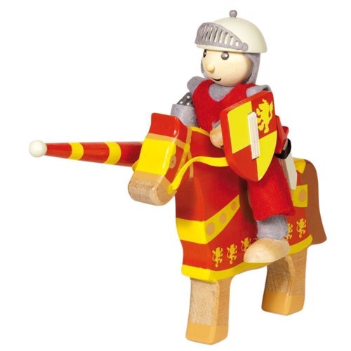 Wooden Knight with Horse-Red