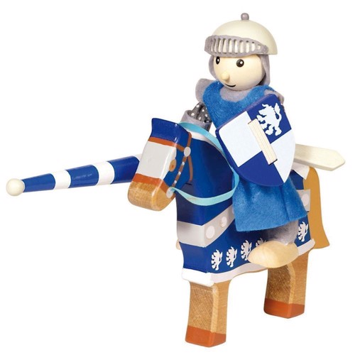 Wooden Knight with Horse-blue