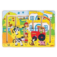 Wooden sliding puzzle farm, 9dlg