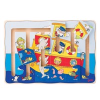 Wooden sliding puzzle boat, 9dlg.