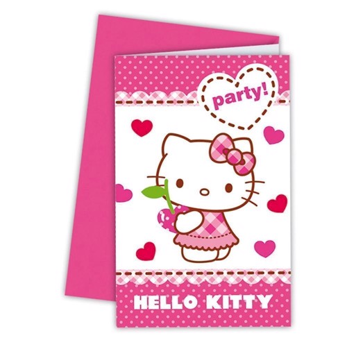 Hello Kitty invitations, 6pcs.