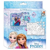 Color your own puzzle, 48pcs - Frozen
