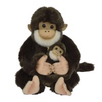 Plush Cuddle Monkey with Baby, 25cm