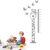 Wall sticker Height Chart Giraffe Light Blue