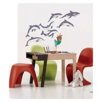 Wall sticker dolphins, set of 7