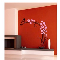 Wall sticker Butterfly plant Black/Pink