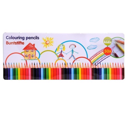 Color pencils in tins, 50dlg.