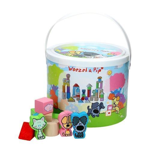Woezel & Pip box with wooden blocks, 50dlg.
