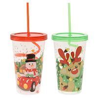 Drinking Cup with Curled Straw - Christmas