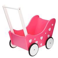 Dolls pram Pink with hearts