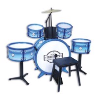 Bontempi Metallic Silver Drumset with Stool, 6dlg.