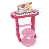 Bontempi Keyboard Standing with Microphone and Stool Pink