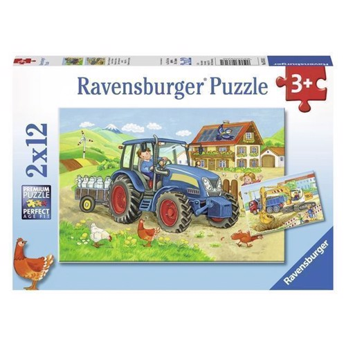 On the Construction Site and Farm Puzzle, 2x12 psc.