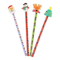 Pencils Christmas with Eraser, 4pcs.