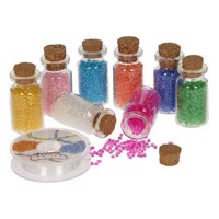Beads in glass jar, 8pcs.