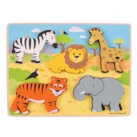 Wooden Puzzle Safari, 5 psc