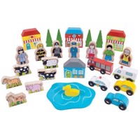 Wooden Toy Figures and Vehicles, 32 psc