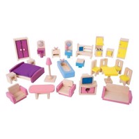 Wooden Dollhouse Furniture, 27 psc