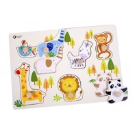 Classic World Wooden Stud Puzzle Wild Animals, 8st.