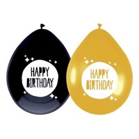 Balloons Happy Birthday Gold / Black, 6pcs.
