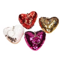 Sequin Heart Keychain