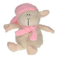 Plush Sheep Sitting with Scarf and Hat - Pink