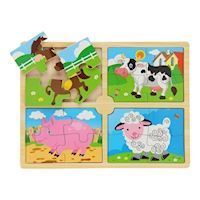Wooden Puzzle Farm, 4in1