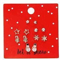 Stud Earrings Let it Snow Red, 6 pairs