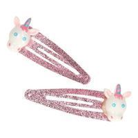 Hair clips with Glitter and Unicorn, 2st.