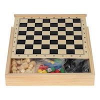 Wooden box with 5 games