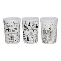 Cup Christmas Black White