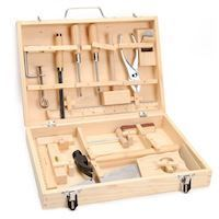 Wooden tool box, 16 psc