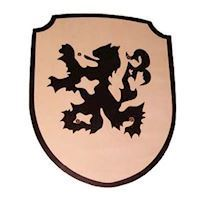 Wooden Shield Lion with Fabric Handle