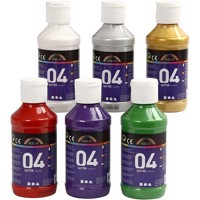 A-Color - Acrylic Paint - Assorted Colours - 04 - Glitter - 6x120ml