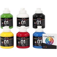 A-Color - Acrylic Paint - Colour School - Primary Colours - 01 - Glossy - 6x500ml