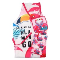 Apron, Oven glove and Pot holder Flamingo