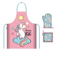 Apron oven glove and pot holder unicorn
