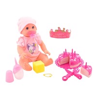 Baby rose drinking and plas pop with cake 32cm
