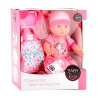 Baby rose drinking and plaspop with diaperbag 35 cm