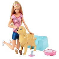 Barbie -  Newborn Pups Pet and Doll (FBN17)