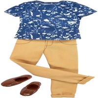 Barbie - Ken Clothes - Blue Print Shirt and Tan Pants (FKT46)