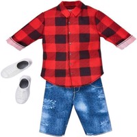 Barbie - Ken Clothes - Red Plaid Shirt and Demin Shorts Fashion (FKT47)