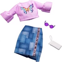 Barbie  Complete Looks Fashion  Butterfly Vintage Top  Patchwork Skirt FXJ02