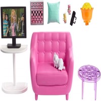 Barbie  Indoor Furniture  Living Room with Kitten Playset FXG36