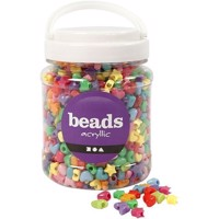 Beads - Box of 700 ml. - Novelty Shape Plastic Beads